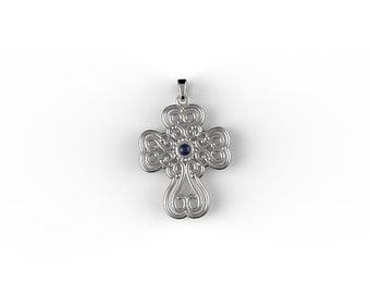 Cross with Sapphire ,antique style victorian