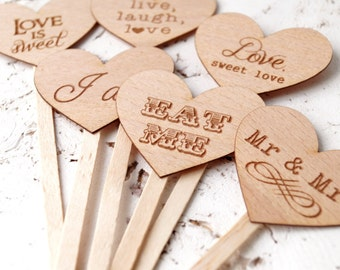 Wedding cupcake toppers, rustic cupcake toppers, personalized cupcake picks, wedding cupcake decoration - choose your design