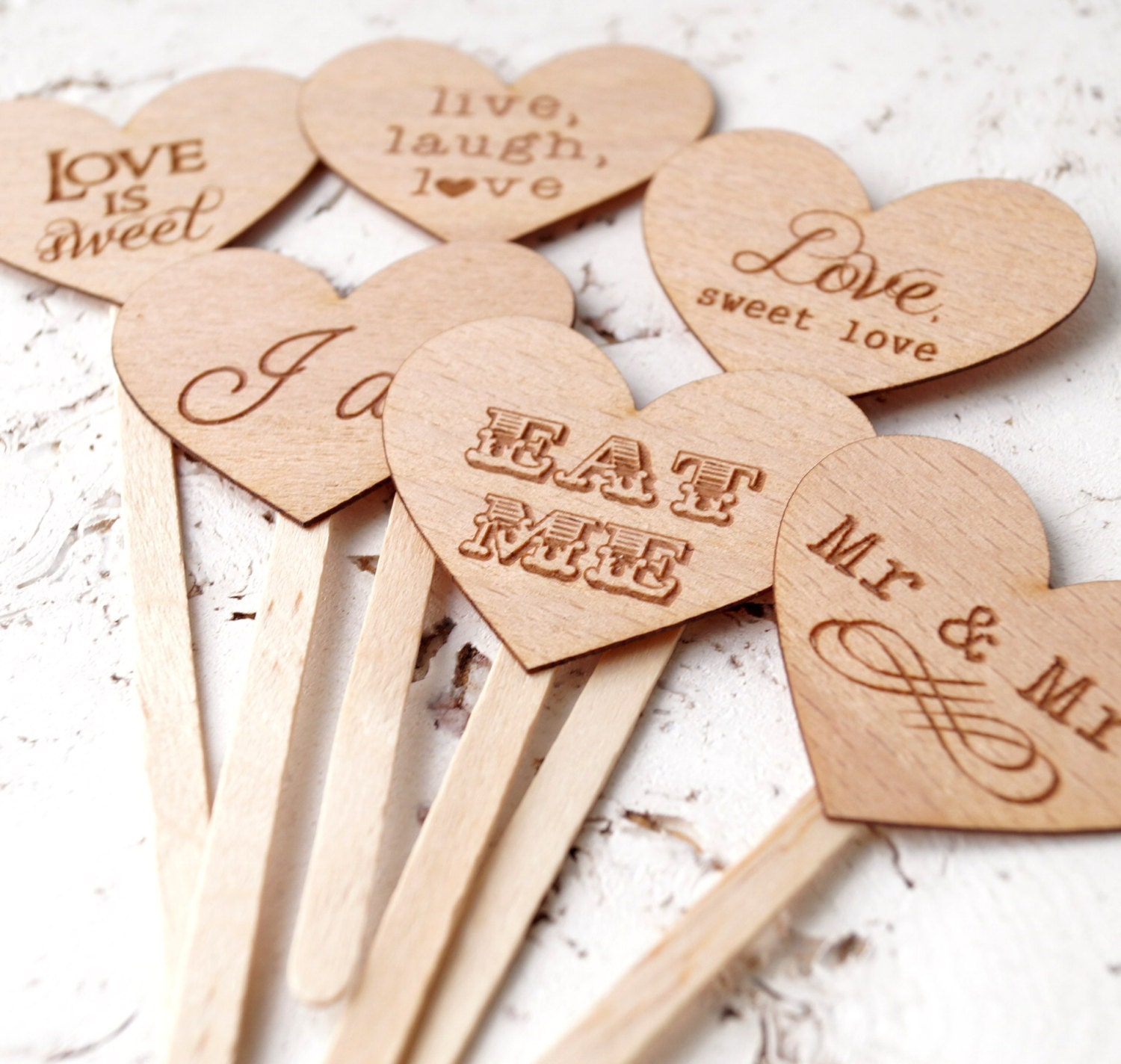 Wedding Cupcake Toppers Rustic Cupcake Toppers Personalized
