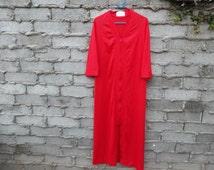 Retro Womens Night Gown House Robe Lounge Wear by Gossard 70s Orange Salmon sz fits Medium Oversized - Large