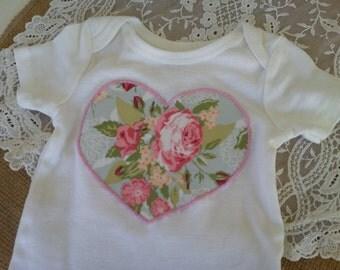 Shabby Floral Heart Onesie/Shirt