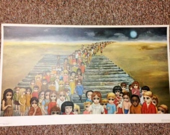 Vintage Walter Margaret Keane TOMORROW FOREVER 100's of Big Eyes Children Large Lithograph Print SALE! + Bonus