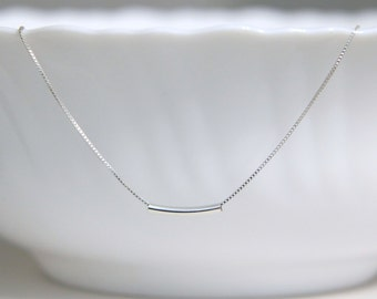 Sterling Silver Tube Necklace, Sterling Silver Tube Pendant on Sterling Silver Necklace Chain
