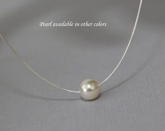 Swarovski 8mm Ivory Cream Pearl on Sterling Silver Necklace Chain