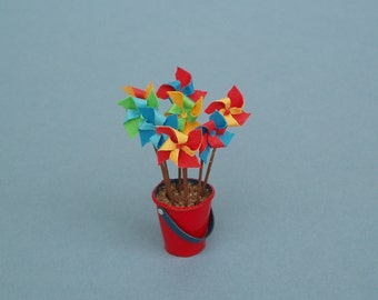 Toy Windmills or Pinwheels in Red Bucket or Sand Pail - 1:12 or 1/12 scale Dollhouse Miniatures for Beach or Garden Store, Kiosk, Toy Shop