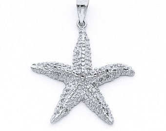 Sterling Silver starfish pendant, starfish, sealife jewelry, starfish charm,