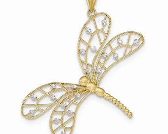 14K Two-Tone Dragonfly Pendant, Dragonfly Pendant, Gold Dragonfly, Dragonfly Jewelry, Dragonfly, Dragon Jewelry, Fancy Jewelry