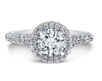 GIA 0.49ct H SI2 Round Brilliant Cut Diamond set in a 14K white gold Halo Engagement Ring