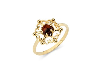 14K Yellow Gold Garnet Ring, Garnet Ring, Gold Ring, Garnet Jewelry, Gold Jewelry, Circle Garnet, Fancy Ring, Fancy Jewelry, Garnet, Ring