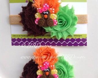 Turkey Headband-thanksgiving headband-Newborn Headband-Toddler Headband- Girl Turkey Headband