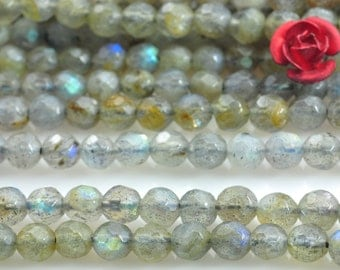 94 pcs of Labradorite faceted round beads in 4mm