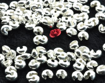 200 pcs of Silver plated Crimp Bead Covers in 6mm