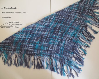 Warm and soft Scarf weaved on a frame, triangle scarf, fringed scarf, Shawl, Winter / Spring Accessories, Scarves, blue, Handwoven Shawl,