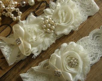 Garter / Wedding Garters / Lace Garter / Ivory / Bridal Garter Set / Bridal Garter / Toss Garter / Vintage Inspired