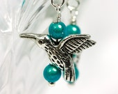 Hummingbird earrings with Teal Miracle beads on Sterling Silver French hooks, Bird Earrings, Humming Bird Earrings, Handmade Earrings