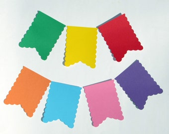 "Flag Pennant die cuts/ flag banner die cuts/ scalloped edge pennant/ size from 1.5"" to 8"" tall/ chose your color"