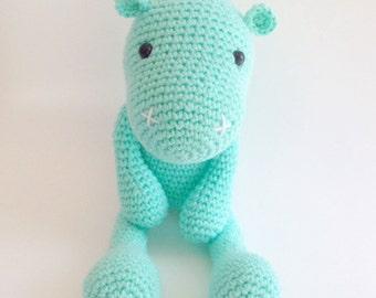Hippo Plush, Hippo Stuffed animal, Hippo Plushie, Hippo Stuffed Toy, Crochet Hippo