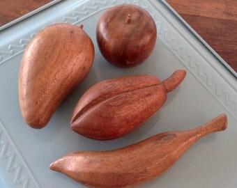 Mid Century Hand Carved Teak Fruit Set / 60's Vintage