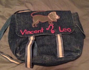 Vintage Denim Backpack with Lion