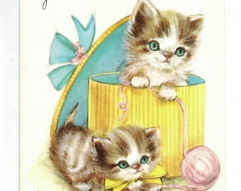 Vintage Birthday Card Kittens Cats Hatbox Yarn to Grandmother 1950s UNUSED
