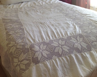 French Linen and Crochet Lace Coverlet,Monogrammed Letter H Linen,Linen Bed Cover
