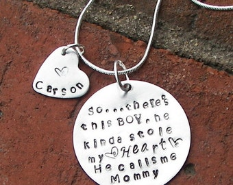 So..There's This Boy Who Stole My Heart, He calls me MOM, Personalized Mother & Son Necklace, mommy necklace, mom necklace, mothers gift