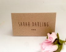 100 Wedding Name Cards or Place Cards. Three Hearts. Customised. Kraft. Rustic. Country chic.