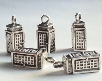 20 Police Box, Phone Booth, Tardis Charms, Doctor Who charms, Silver Telephone Booth, Superman Charms