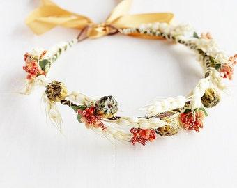 Fall Bridal Crown, Rustic Natural Halo, Woodland Crown, Boho Halo, Fall Head Wreath, Orange Hair Wreath, Harvest Crown, Fall Floral Crown