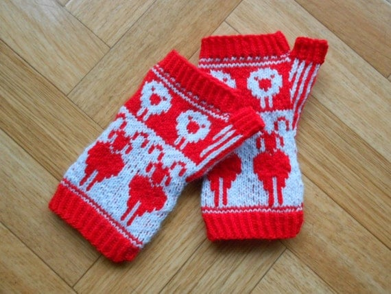 Hobo Gloves Knitting Pattern : Fingerless mitten knitting PATTERN Sheep by CuteCreationsByLea