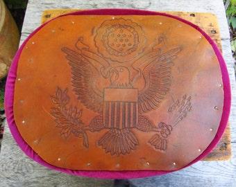 VIntage Hand Tooled Leather Federal Eagle - Leather Eagle Folk Art