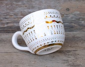 28oz Real Gold Mug - Winter White Gold Pottery - Coffee Tea Soup Latte Winter Gift - Premium Precious Metal - Hand Painted - Made To Order