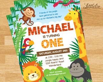 Jungle Invitation - Animal party invitation - safari invitation A15007