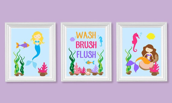 Kids bathroom art mermaid bathroom decor wash brush flush for Mermaid bathroom decor vintage