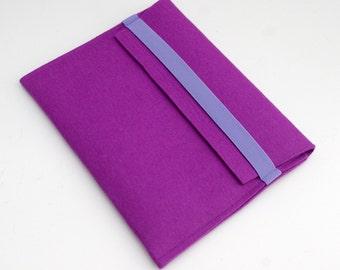 SALE Pink Wool Felt iPad Cover, Felt iPad Sleeve, Felt Case iPad, Pink and Lavender Felt Cover, Sleeve iPad Pink