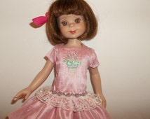 Silk Elegance- A silk embroidered dress to fit Betsy McCall and Effner Little Darling dolls.