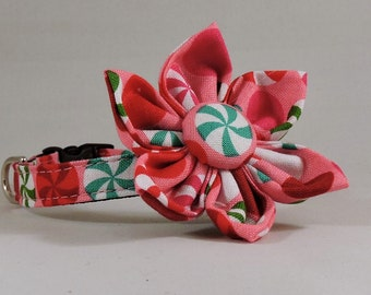 Cat Collar or Kitten Collar with Flower or Bow Tie  - Peppermint Patty