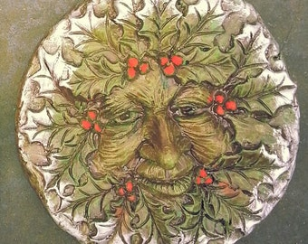 Winter Green Man plaque. Seasons of the Year, Yule, Imbolc 1 in a set of 4