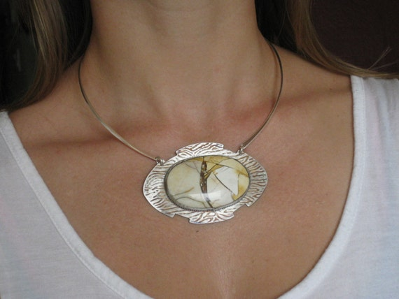 Reversible Sterling Silver with cabochon - Handmade Artisan Jewelry - One of a kind Necklace