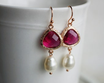 Earrings, Rose Gold and Fuschia Crystal and Pearl dangle earrings