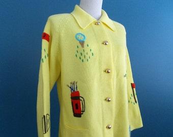 1960's  LeRoy Novelty Golf Theme Cardigan Yellow size Large