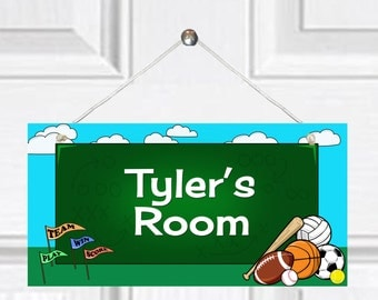 Personalized Child's Door Sign - Sports Theme