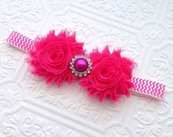 The Hot Pink Chevron Shabby Chic Headband or Hair Clip