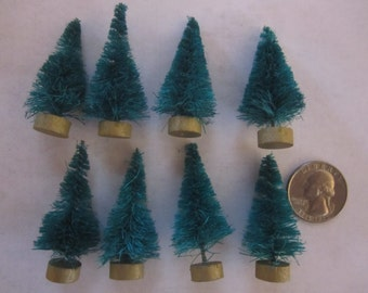 "8 Small Tiny Bottle Brush Christmas Trees - 2"""