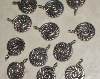 12 Antiqued Silver Spiral  Charms