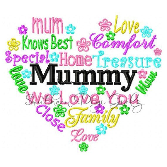 Mummy Heart Word Art Embroidery Design INSTANT DOWNLOAD