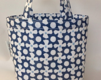 Reef marine blue oilcloth lunch bag mini tote