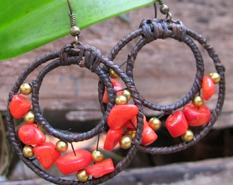 Handcrafted Nugget Red Coral Stone Brass Bead Dangle Earrings E64