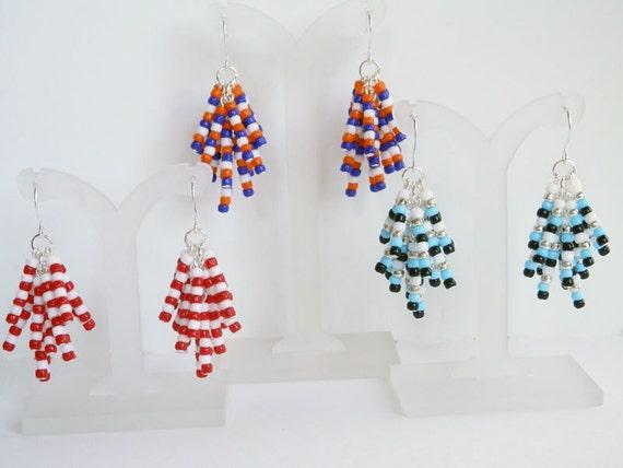 seed bead earrings team colors beaded by debsturquoisezebra