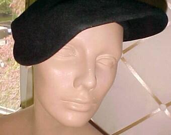 1940s Black Felt Hat. Unusual, Size 22 H44